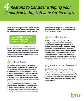 Reasons to Consider Bringing your Email Marketing Software On-Premises