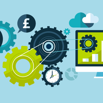 Graphic to represent automation, including, cogs, belts, a stopwatch, a desktop computer, clouds, graphs, and a pound sign