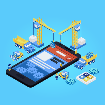 Crane, workmen, Building Mobile Apps