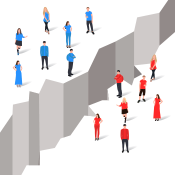 Two groups of people either side of a chasm - to represent the gap between marketers and consumers.