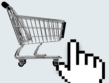 Pixelated hand hovering over shopping cart