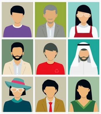 Icons of many different people, with different characteristics, to represent personas