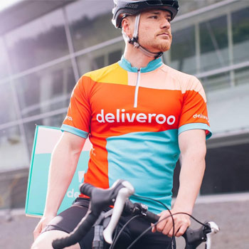 A Deliveroo cyclist