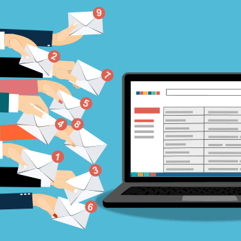 Graphic - many arms holiding email icons, with new message notifications reaching towards a laptop