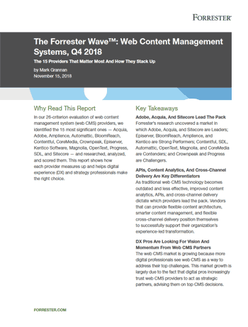 Forrester Wave Web Content Management Front Cover