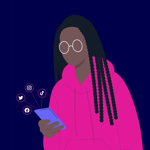 Young person, casually dressed, using phone, surrounded by social icons