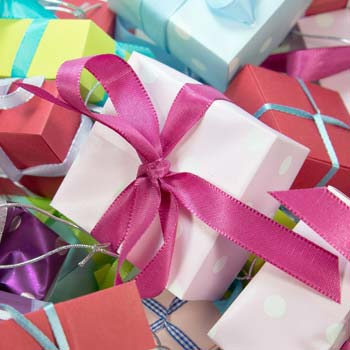 Many colourful wrapped gifts