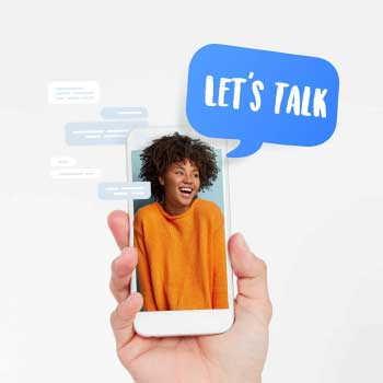 "Picture of woman on phone, with ""Let's Talk"" speech bubble"
