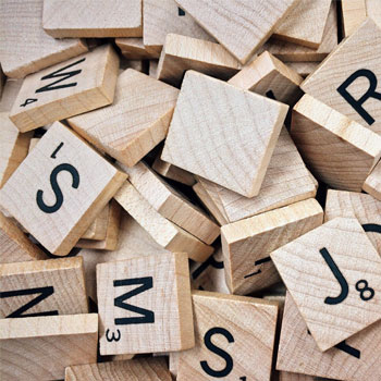Word game single letter tiles