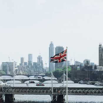London Skyline with Union Jack Flag