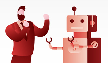 Styleized cartoon of suited man and robot appearing to square up to each other for a fight