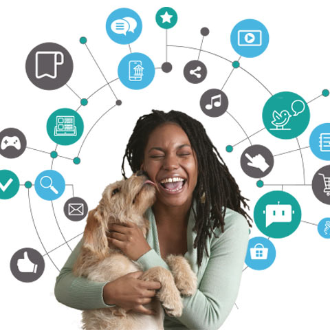 Happy woman, with dog, surrounded by icons relating to marketing and customer touch-points
