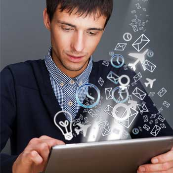 Person holding tablet, with abstract icons, representing multiple channels streaming towards the device