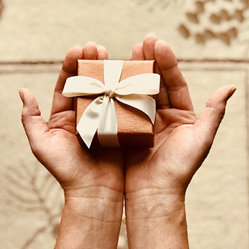 Package in persons hands