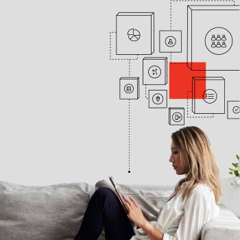 Woman on sofa, using tablet, with abstract rationalisation illustration above her