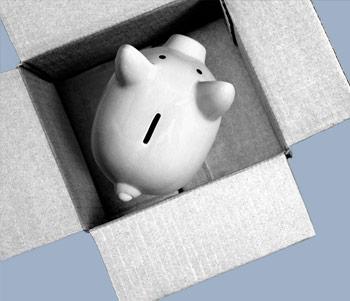 Piggy Bank stood in a cardboard box
