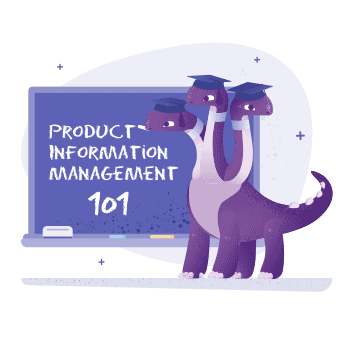 Three-headed dinosaur, with mortarboard hars, standing by chalk-board, appearing to teach