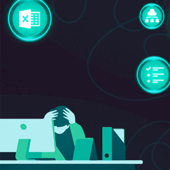 eCommerce Product Marketer at desk with computer, head in hands, looking stressed, with related issue bubbles surrounding them