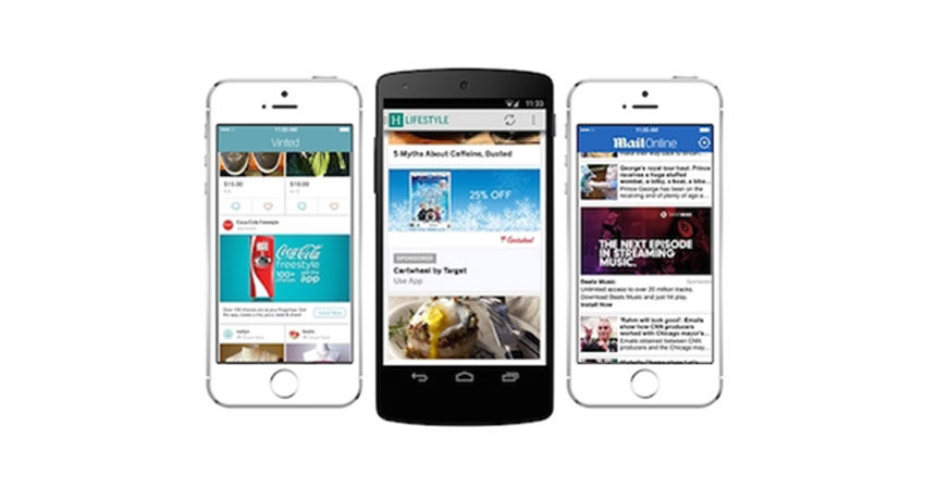 Three smartphones on apps with native ads