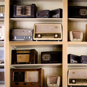Many Radios on Shelves