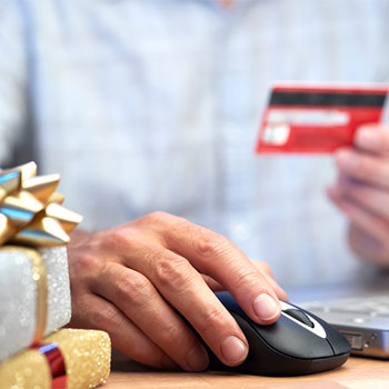 Online shopping with Christmas gifts