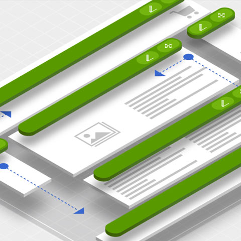 Graphic representing single page applications  - Widgets being easily moved around to suite multiple content types