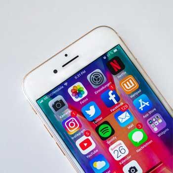 Social media app icons on mobile