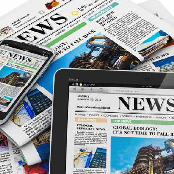 News content on a tablet, a mobile phone, and in print