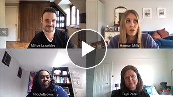 Thumbnail with play button - 4 people in webinar-style video chat