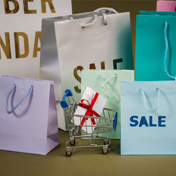 Seasonal shopping bags, with small trolley to represent eCommerce