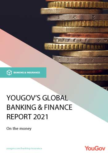 YouGov Global Banking & Finance Report 2021, Front Cover Thumbnail - stacked coins